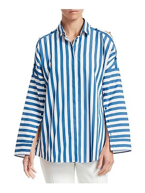 Akris punto buttoned shoulder stripe blouse