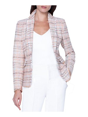 Akris punto Checked Tweed Faux Double-Breasted Jacket