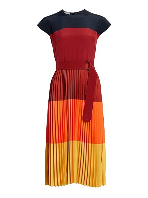 Akris punto colorblock pleated midi dress