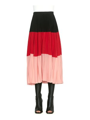 Akris punto colorblock pleated midi skirt