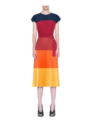 Akris punto colorblock stripe pleated midi dress