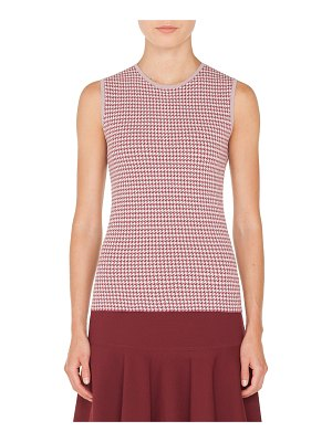 Akris punto Crewneck Sleeveless Houndstooth Knit Top