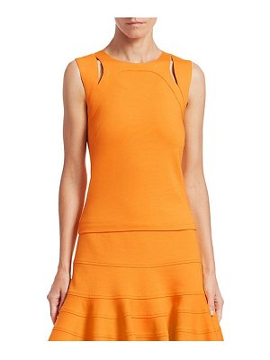 Akris punto cut-out sleeveless top