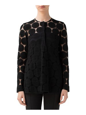 Akris punto dot lace high/low shirt