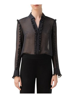 Akris punto dot ruffle sheer silk blouse