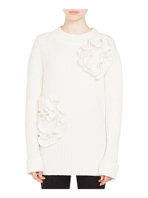 Akris punto Flower-Applique Crewneck Ribbed Wool-Cashmere Sweater