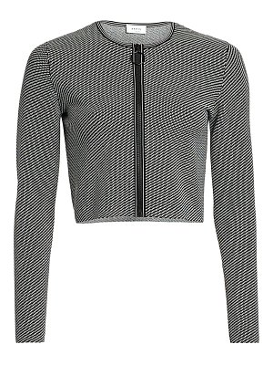 Akris punto geo knit cropped zip cardigan