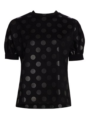 Akris punto lacquered polka dot puff sleeve sweater top