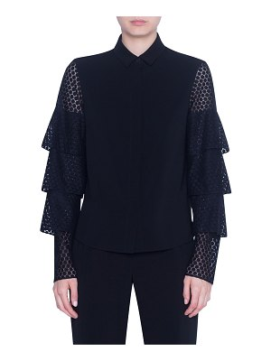 Akris punto Laser-cut Lace-Sleeve Button-Front Shirt