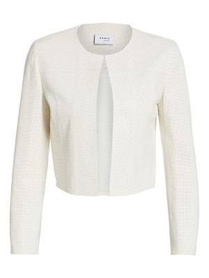 Akris punto leather perforated cropped jacket