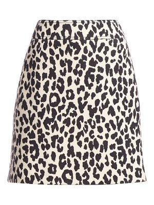 Akris punto leopard print wool mini skirt