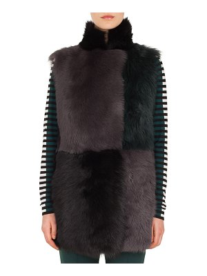 Akris punto Long Colorblocked Toscana Lamb Fur Vest