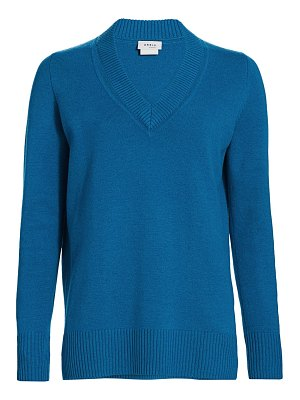 Akris punto luna cutout v-neck long-sleeve wool & cashmere knit sweater