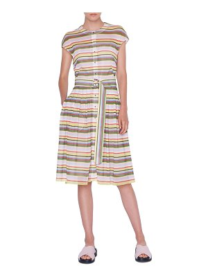 Akris punto Memphis Glass Striped Mesh Shirtdress