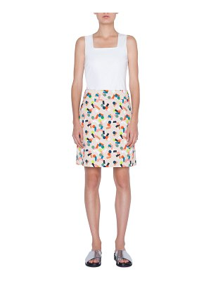 Akris punto Memphis Printed Stretch-Cotton A-line Skirt