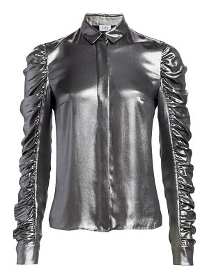 Akris punto metallic ruched sleeve blouse