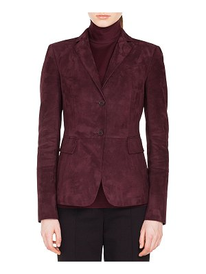 Akris punto Notched-Lapel 2-Button Suede Leather Blazer