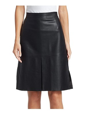 Akris punto perforated leather a-line skirt