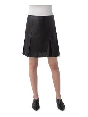 Akris punto perforated leather front skirt