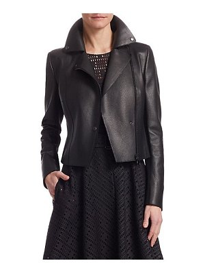 Akris punto perforated leather & jersey jacket