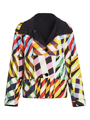 Akris punto reversible water repellent patchwork jacket