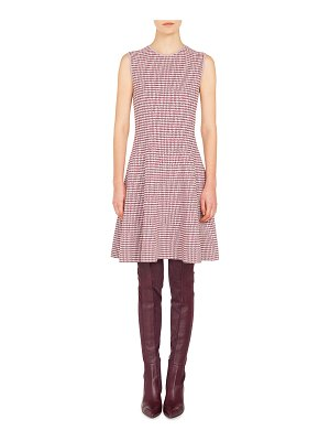 Akris punto Round-Neck Sleeveless Fit-and-Flare Houndstooth Knit Dress