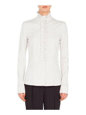 Akris punto ruched ruffle blouse