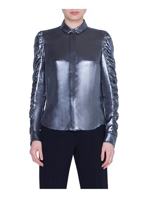 Akris punto ruched sleeve metallic crepe blouse