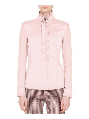 Akris punto Ruched Stand-Collar Button-Front Long-Sleeve Cotton Jersey Blouse