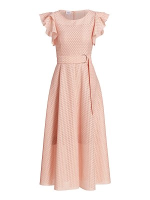 Akris punto ruffle sleeve dot lace lace midi dress