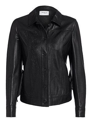 Akris punto ruffled perforated leather jacket