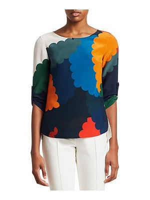 Akris punto scallop multicolor print silk blouse