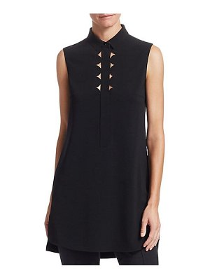 Akris punto scallop neck tunic blouse