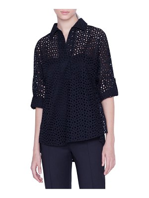 Akris punto sheer broderie anglaise blouse