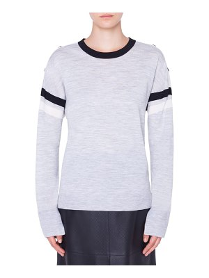 Akris punto shoulder snap merino wool sweater