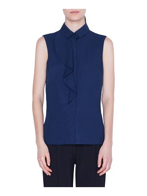 Akris punto Sleeveless Ruffle-Trimmed Button-Front Shirt