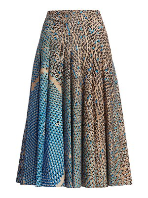 Akris punto solar-print soft pleated midi skirt