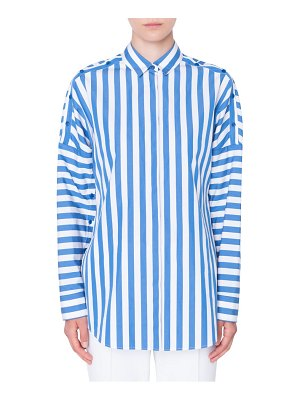 Akris punto stripe button sleeve shirt