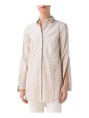 Akris punto stripe cotton poplin shirt