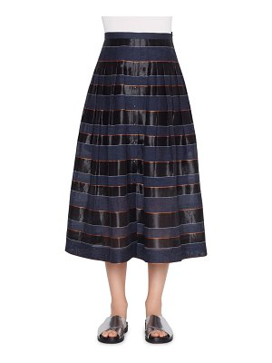 Akris punto stripe midi skirt