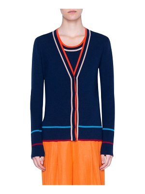 Akris punto stripe ribbed stretch merino wool cardigan