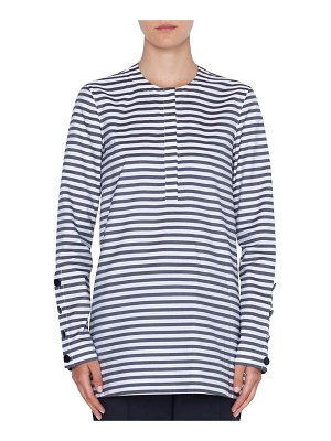 Akris punto Striped Crewneck Button-Sleeve Top