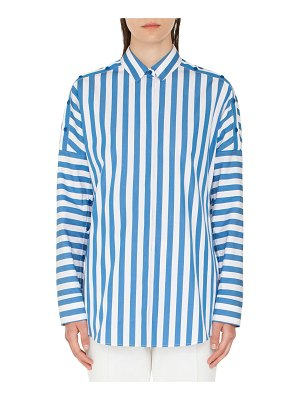 Akris punto Striped Kent-Collar Button-Shoulder Long-Sleeve Cotton Blouse