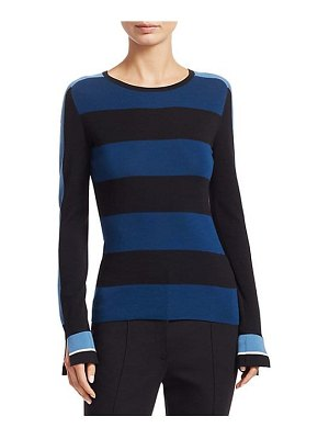 Akris punto striped long-sleeve pullover