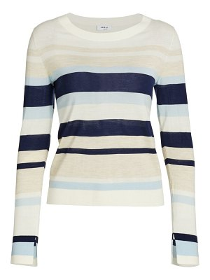 Akris punto striped long-sleeve wool sweater
