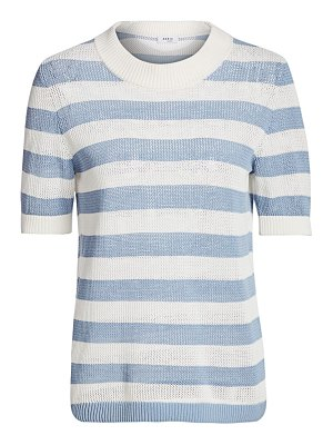 Akris punto striped mesh knit pullover top
