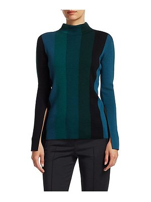 Akris punto striped slit-sleeve knit wool turtleneck