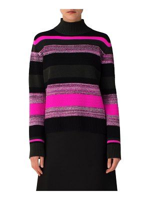 Akris punto Striped Wool-Cashmere Turtleneck Sweater