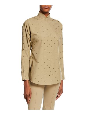Akris punto Studded Cotton Poplin Blouse
