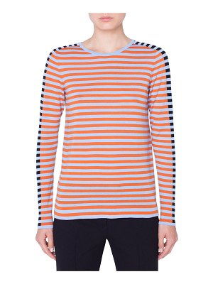 Akris punto Tricolor Stripe Merino Pullover Sweater